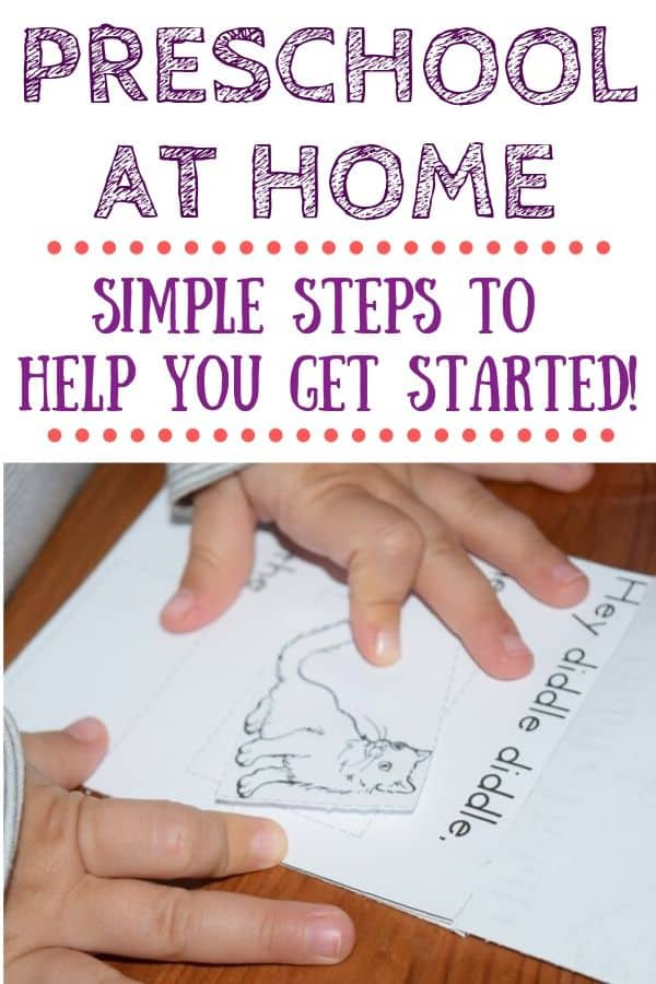 Little hands pasting a cat in a nursery rhyme booklet. Text: preschool at home - simple steps to help you get started