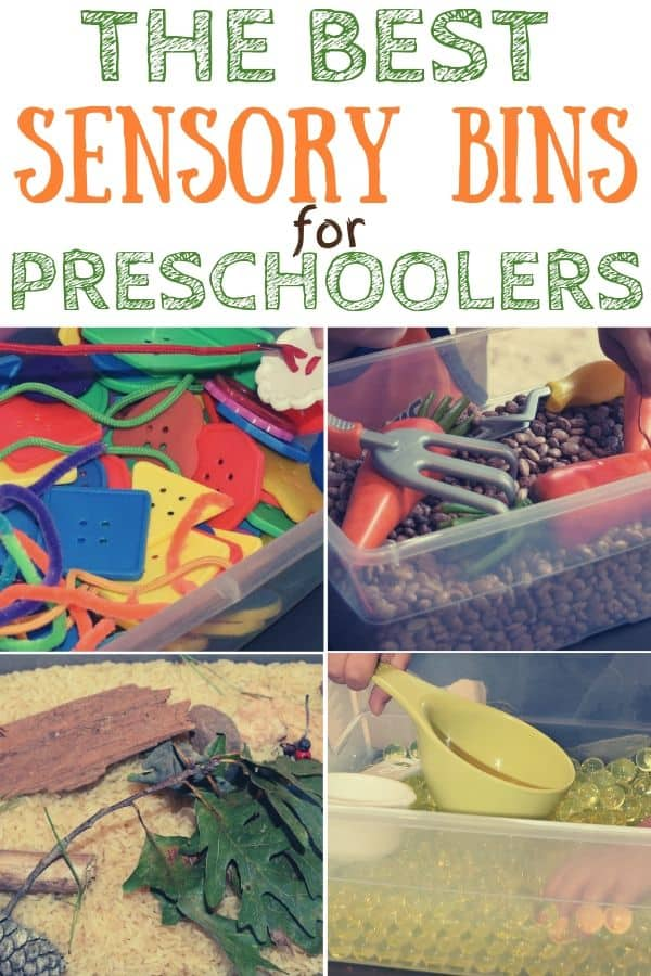 The Best Sensory Bins for Preschoolers. Buttons and shoe laces in a bin; Beans, plastic carrots and rake in a bin, leaves. bark and rice in a bin, water beads and measuring cups in a bin.