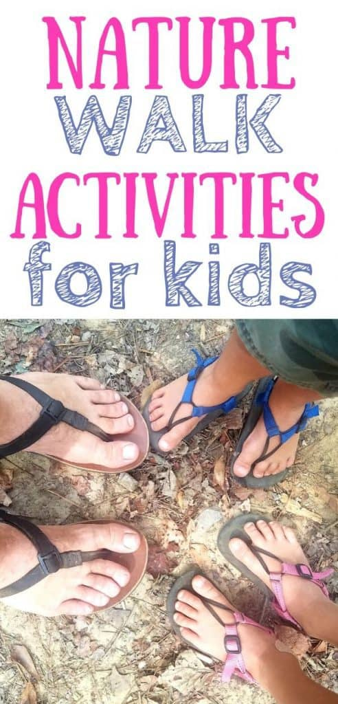 Text: nature walk activities for kids. Image: Kids and dad's feet getting ready for a nature walk.