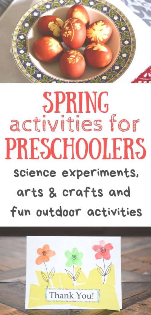 Spring activities for Preschoolers - science experiments, arts & crafts and fun outdoor activities. Easter eggs. Fingerprint thank you card