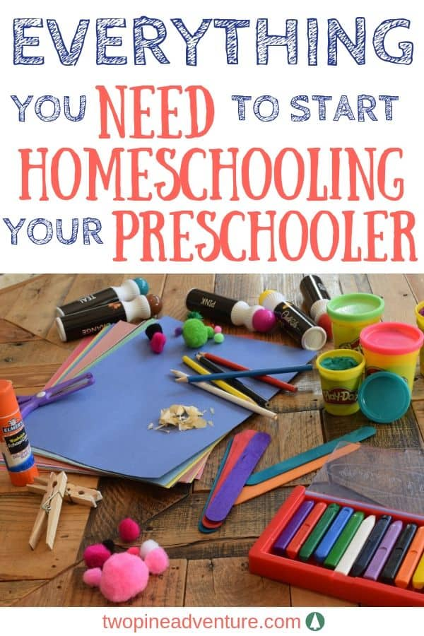 Text: Everything you need to start homeschooling your preschooler Image: preschool home school supplies