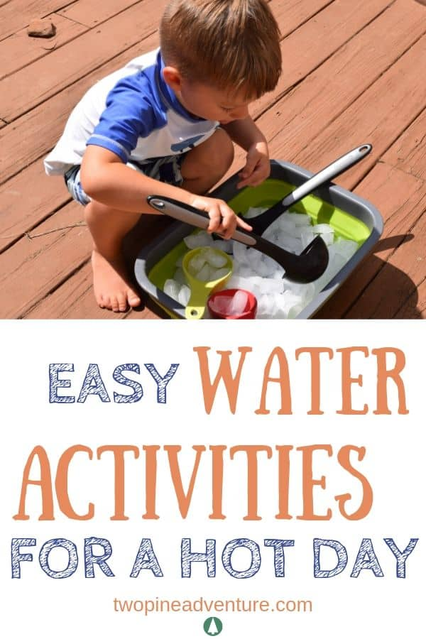 Boy playing with ice in a wash bin Text: Easy Water Activities for a Hot Day