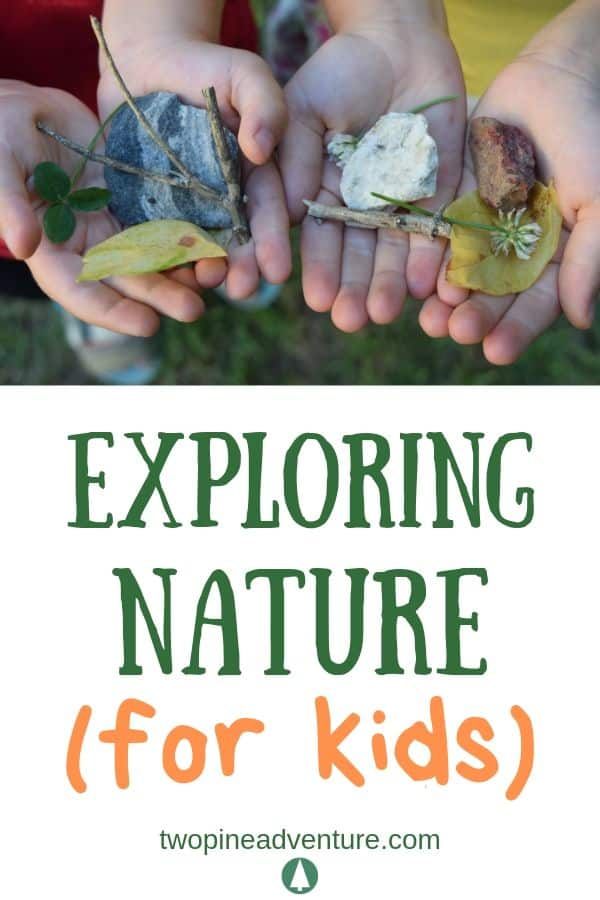 Children's hands holding rocks, leaves, flowers and sticks. Text: Exploring Nature (for kids)