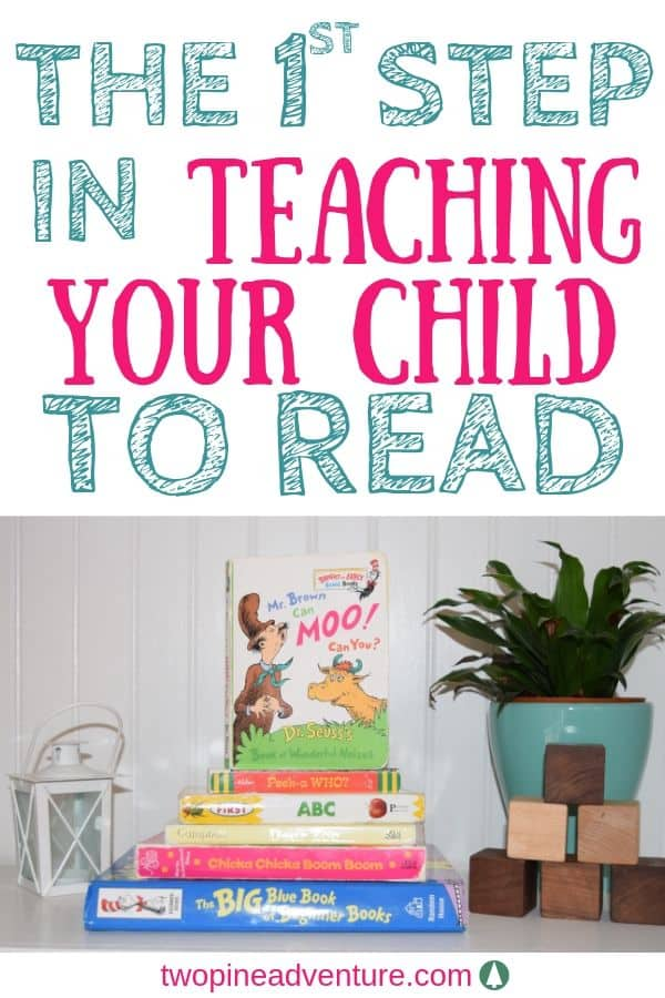 """Stack of children's books on a bookshelf. Text: """"The 1st step in teaching your child to read."""""""