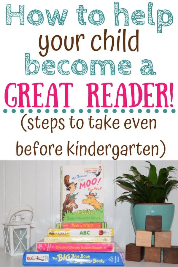 A stack of children's books on a bookshelf (Text: How to help your child become a great reader! (steps to take even before kindergarten)