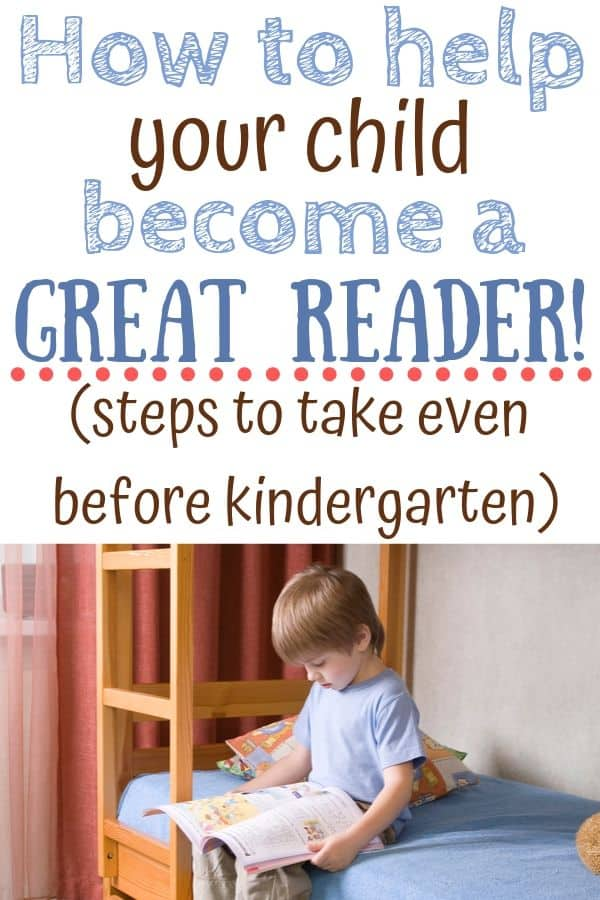 Boy sitting on bed and reading a book. Text: How to help your child become a great reader! Steps to take even before kindergarten