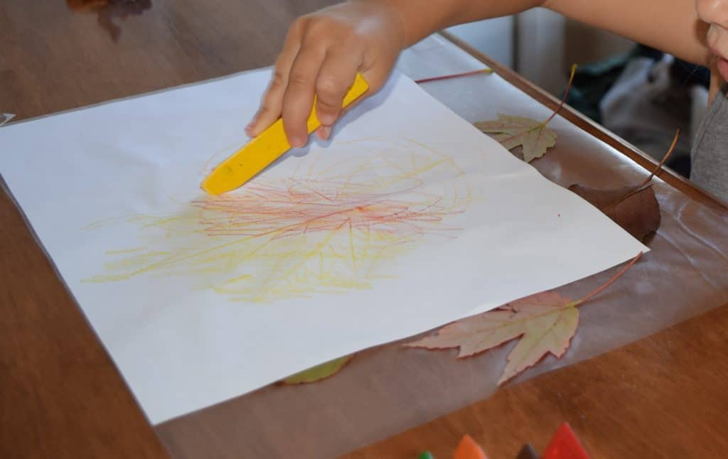 A girl using a crayon to make a leaf rubbing.