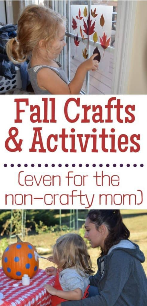 Girl looking at a fall craft. Girl with her mom painting a pumpkin. Text: Fall Crafts and Activities