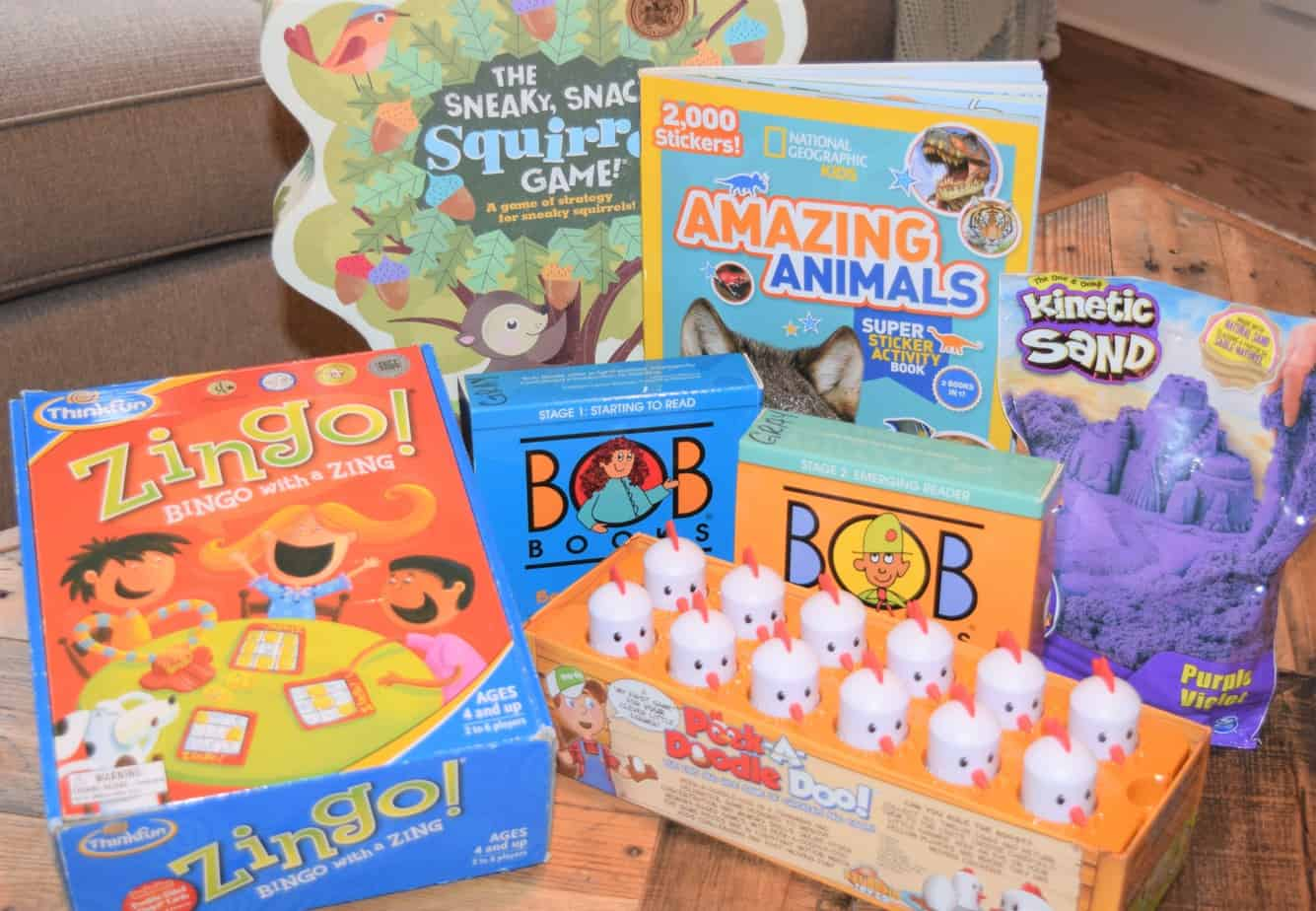 Educational games and toys set out on a coffee table.