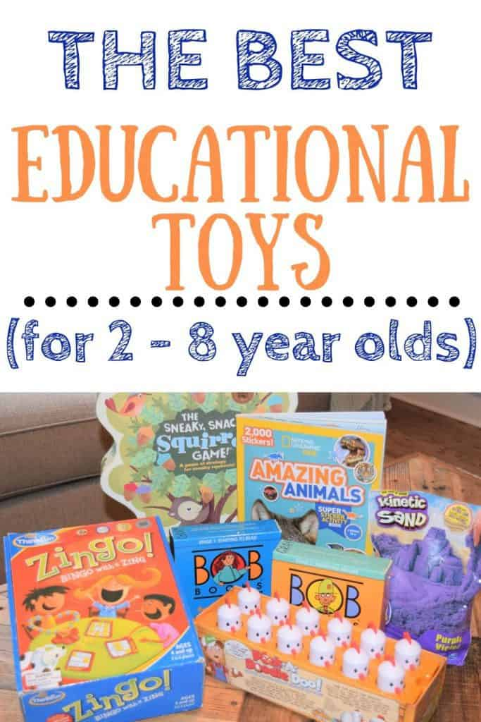 Text: The best educational toys (for 2 - 8 year olds) Image: educational games, books and toys laying on the coffee table.