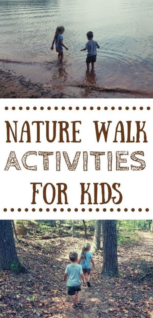 Two kids going on a nature walk and stopping to play in a lake. Text: nature walk activities for kids.