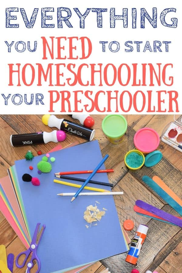 Preschool homeschool supplies laying out on a table.