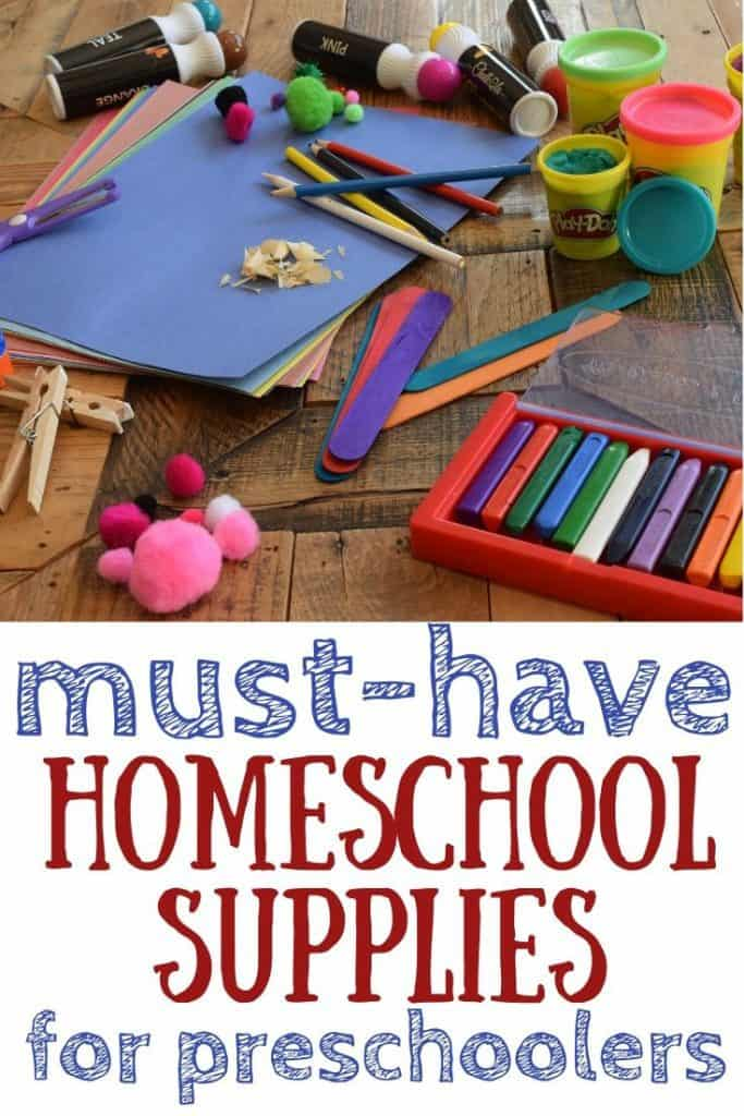 Homeschool Supplies laying on a table.