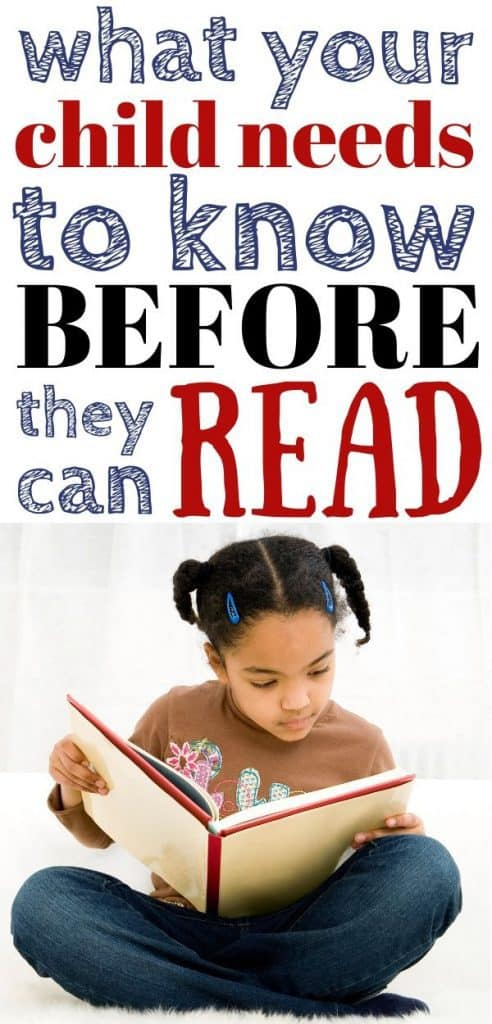 A young girl reading a book. Text: what your child needs to know before they can read.