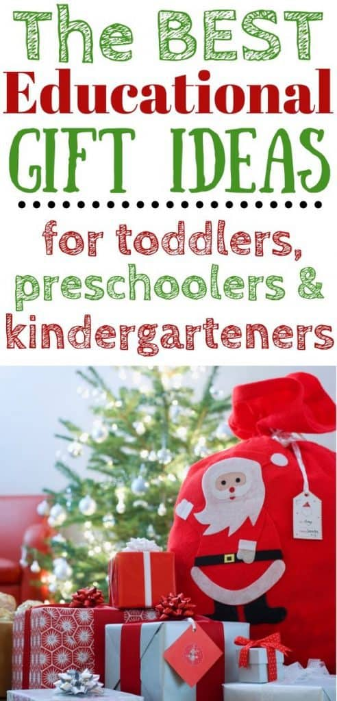 Christmas presents by a small Christmas tree. Text: The best educational gift ideas for toddlers, preschoolers & kindergarteners