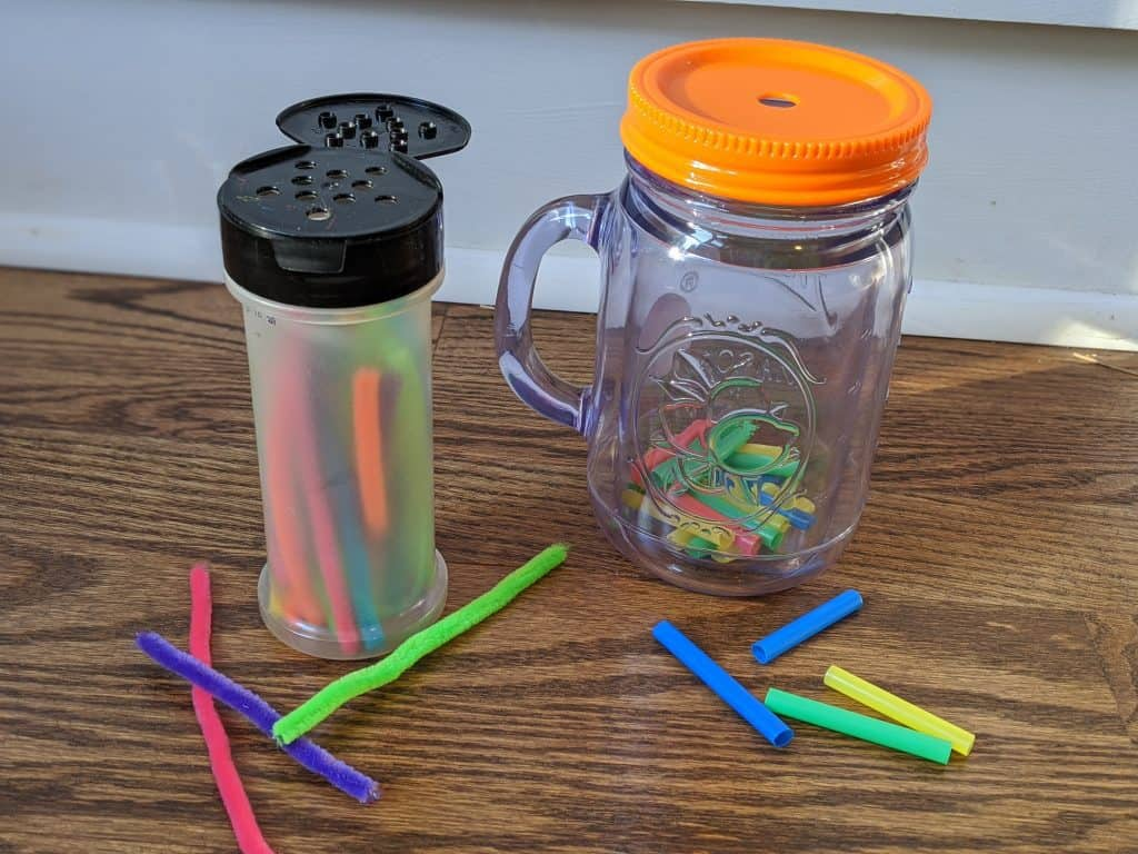 Fine motor activities with straws and pipe cleaners.