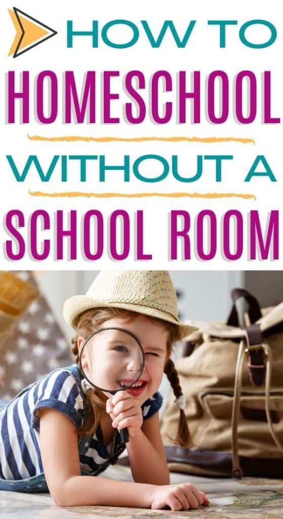 A girl with a magnifying glass homeschooling without a school room.