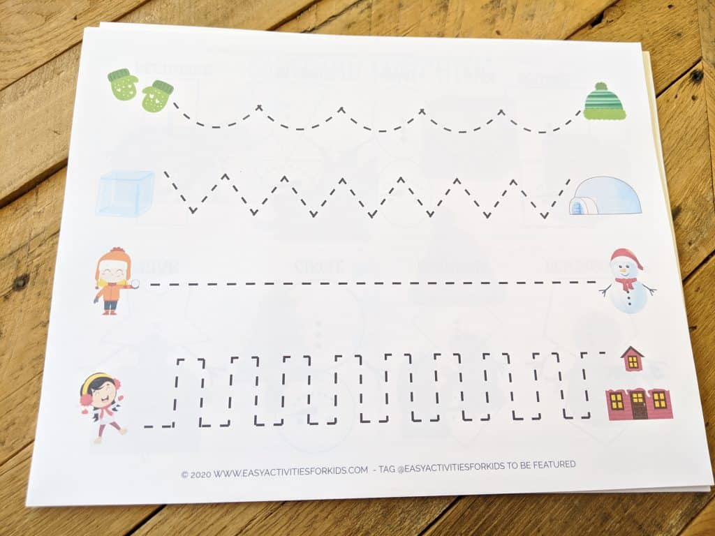 Follow the line writing practice for preschoolers