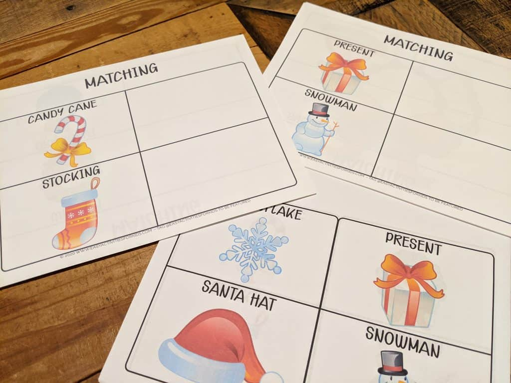 Winter Matching Game for Preschoolers
